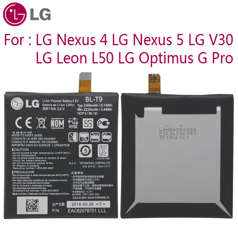LG Original Replacement Phone <font><b>Battery</b></font> <font><b>BL</b></font>-<font><b>T9</b></font> For LG Nexus 4 5 LG V30 for Optimus G Pro LG Leon L50 <font><b>BL</b></font>-T5 <font><b>BL</b></font>-T34 <font><b>BL</b></font>-48TH <font><b>BL</b></font>-41ZH image