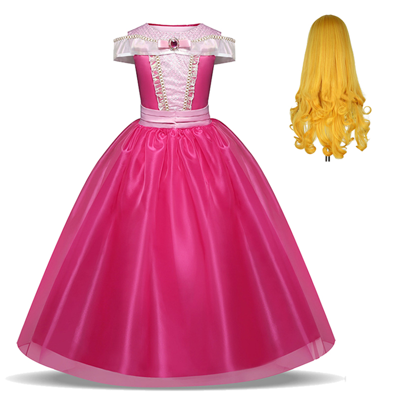 Kids Princess Dress for Girls Cosplay Aurora Sleeping Beauty Costume Children Carnival Christmas Birthday Party Clothes and Wig