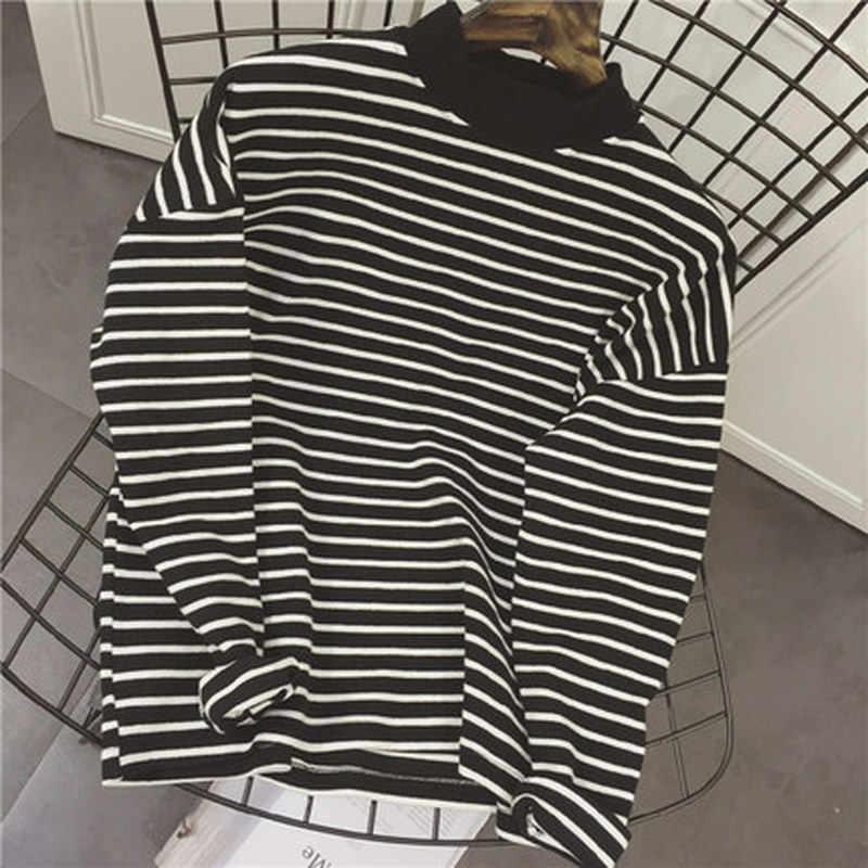 2020 봄 가을 여성 t 셔츠 하라주쿠 심플 줄무늬 tshirt 긴 소매 거북이 슬림 티셔츠 Femme black white Top Tees