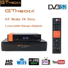 Original GTMedia V8 Nova Satellite Receiver with 1 Year Europe Channel DVB-S2 Full HD 1080p Receptor Biult-in Wifi H.265 Decoder цена и фото