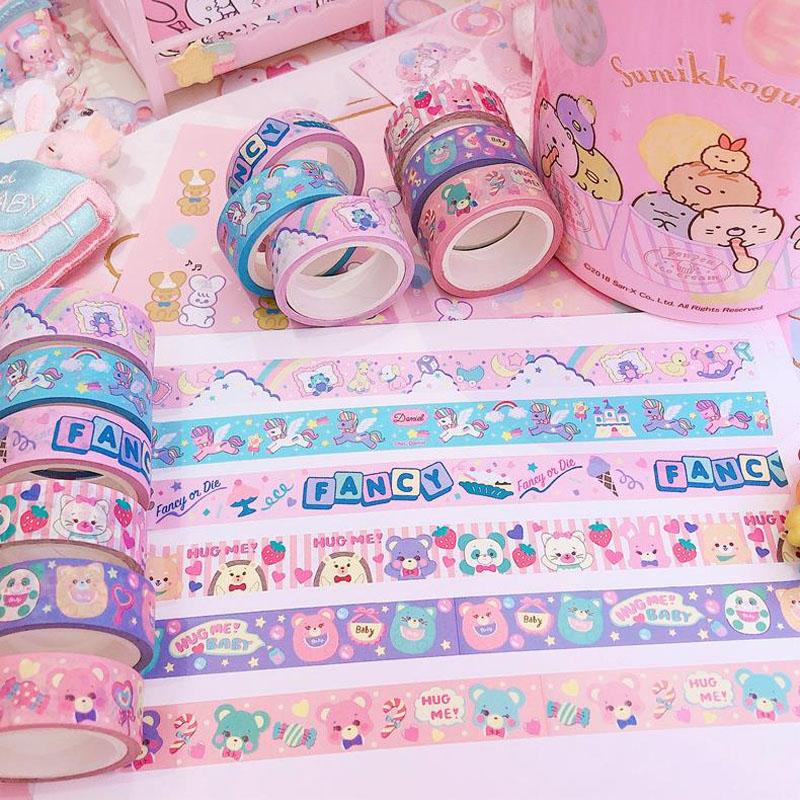 2 Pcs/set Kawaii Japan Flowers Heart Bear Unicorn Masking Washi Tapes Diary Label Stickers Scrapbooking DIY Korean Stationery