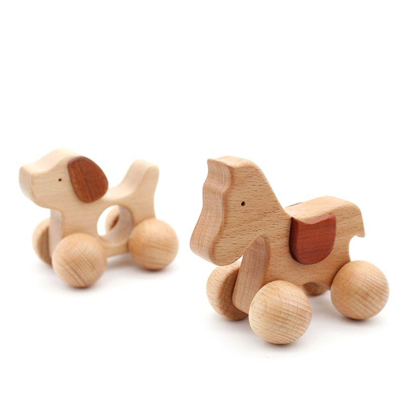 3 stücke Push scroll Holz Baby Pferd und Hund Spielzeug Auto Set für Kleinkinder 1 jahr alt - 6