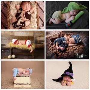 Реквизит для фотосессии новорожденных; одежда для фотосессии на день рождения для маленьких мальчиков и девочек; вязаная шапка с рисунком + ...