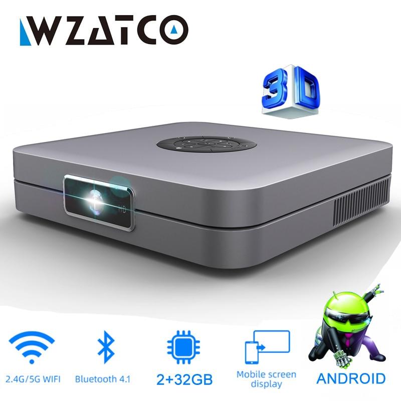 WZATCO D1 DLP 3D проектор 300 дюймов домашний кинотеатр Поддержка Full HD 1920x1080P,32 ГБ Android 5G WIFI AC3 видео проектор Мини проектор
