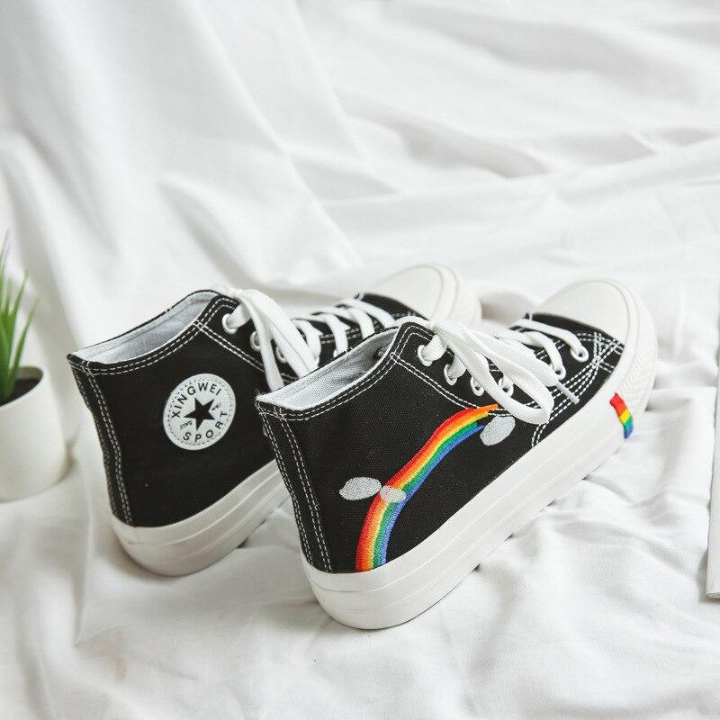 Fashion Rainbow Sole White Shoes Canvas