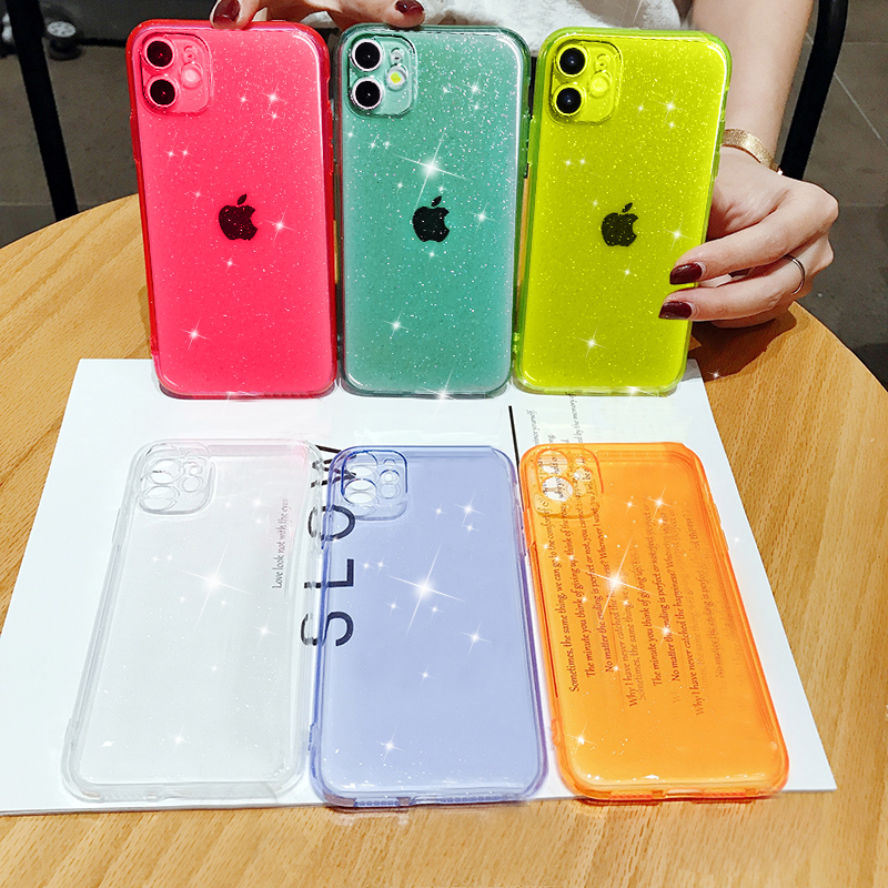 Luxury Candy Transparent Phone Case For iphone 11 12 mini Pro Max XS X XR 7 8 plus SE 2021 Soft Silicone Shockproof Cases Cover 2