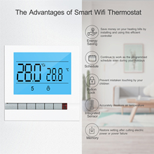 Programmable Smart Thermostat for Water Heating Large LCD Screen with Backlight Water Foor Heating Temprature Controller