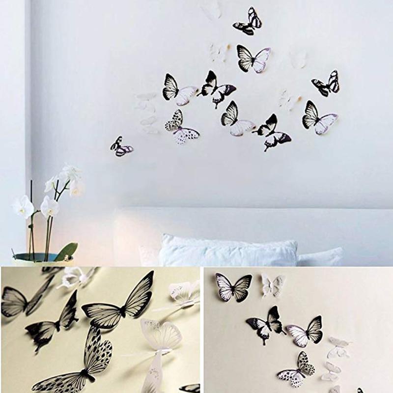 18pcs / Lot 3D Butterfly Wall Decoration Cute Butterflies Wall Stickers DIY Home Decoration Room Wall Art