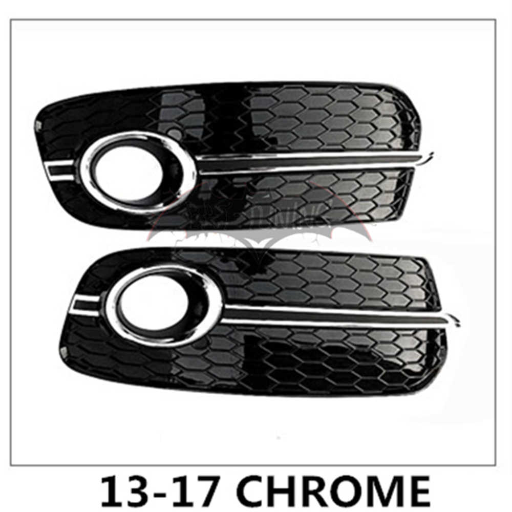 Pair Front Fog Light Grille Cover Honeycomb SQ5 Style Grill For AUDI Q5 13-17