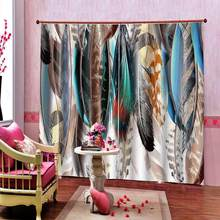 3D Curtain Luxury Blackout Window Curtain Living Room Modern minimalistic hand drawn colored feathers(China)