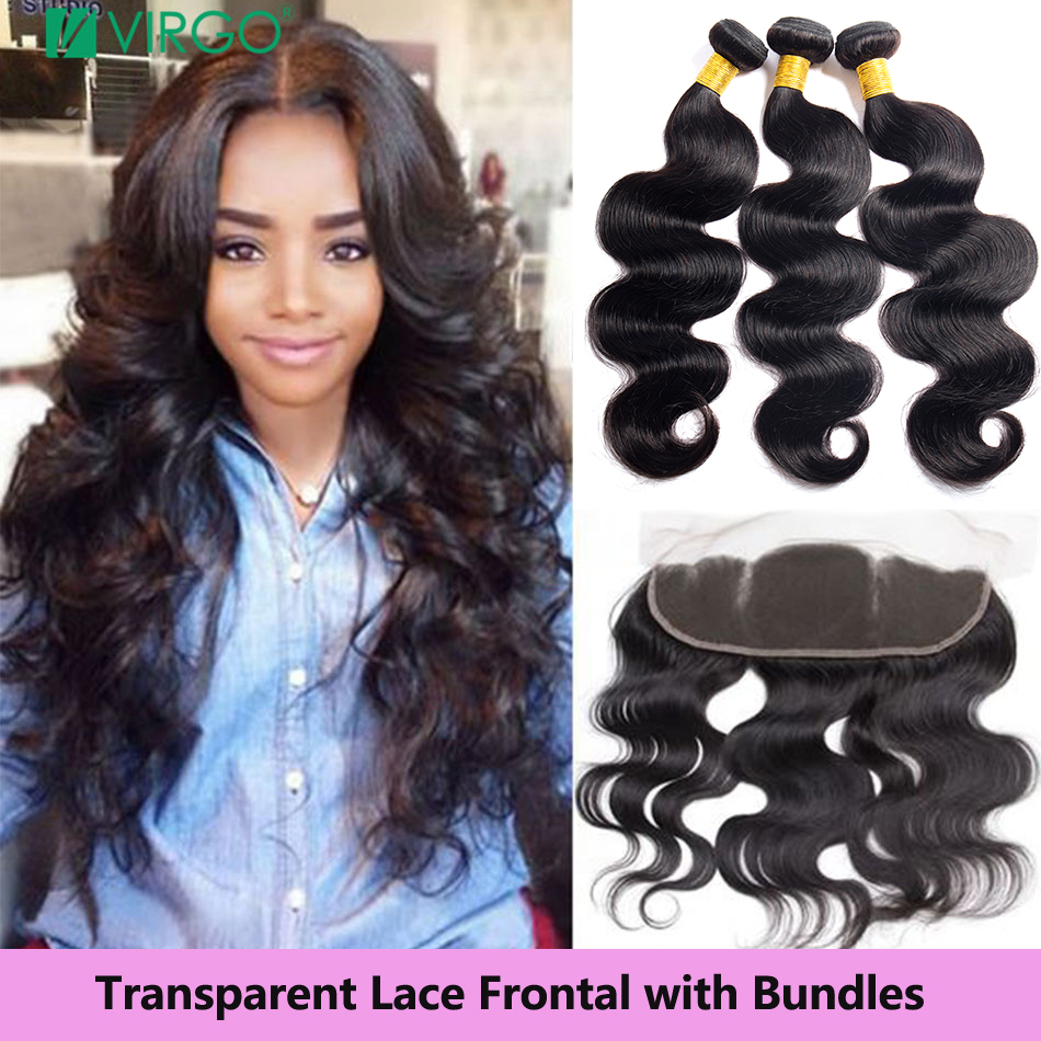 Virgo Hair Peruvian Body Wave Bundles With Closure Human Hair 13X4 Transparent Lace Frontal With Bundles Remy Hair Extensions