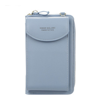 2020 new ladies wallet solid color small Messenger bag multi-function cell phone pocket portable with chain shoulder bags - Sky Blue, One Size