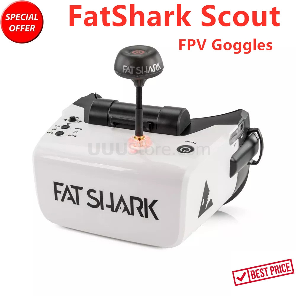 2019 New FatShark Scout 4 Inch 1136x640 NTSC/PAL Auto Selecting Display FPV Goggles Video Headset Built-in Battery DVR