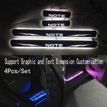 4/Cho lưu ý đến Cửa Năng Động Đèn LED Xà Scuff Đĩa Hoan Nghênh Bạn Đã Bàn Đạp Xe Kiểu Dáng cửa Lấp Lánh sills đèn chiếu sáng Dành Cho Xe Nissan NOTE