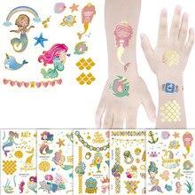 Tatuagem de sereia conjunto criança temporária tatuagem tatuagem tatoo corpo para crianças bonito tatuagem crianças tatuagem