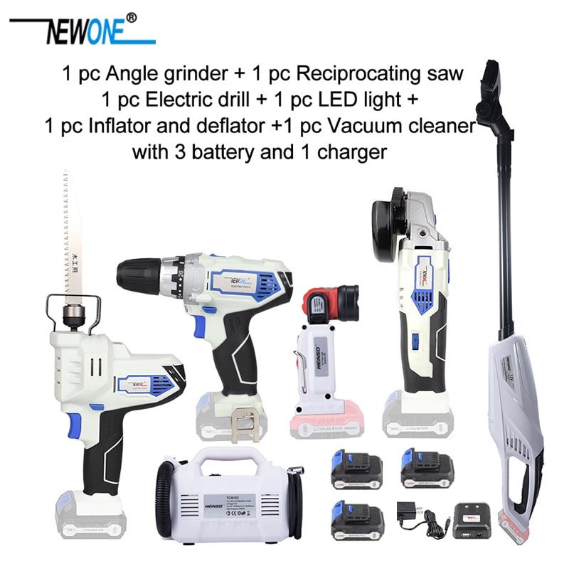 Tool Power Reciprocating Saw Flashlight Cordless Electric Drill LED Grinder Screw Driver Deflator Kit Angle Combo Inflator 12V