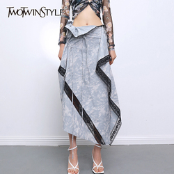 TWOTWINSTYLE Sexy Patchwork Irregular Women Skirts High Waist Lace Asymmetrical Drawstring Midi Skirt For Female Fashion Clothes