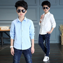 Kids Clothes Spring Autumn Boys Cotton Blouses Kids Boys Long Sleeve Shirt Children Fashion Shirt 5-14 Years Turn-down Collar girls plaid blouse 2019 spring autumn turn down collar teenager shirts cotton shirts casual clothes child kids long sleeve 4 13t