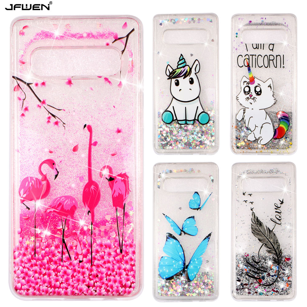 Liquid Glitter Phone Cases For Samsung Galaxy S10 S9 S8 Plus S10E A10 A20 A30 A50 A70 Case Silicone Flamingo Relief Cover image
