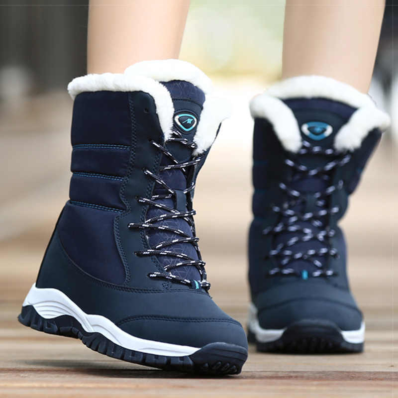 Women Boots Women Shoes 2019 Women Snow Boots Fashion Lace Up Winter Shoes Female Winter Warm Platform Ankle Boots For Female