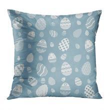 Чехол для подушки с пасхальными яйцами мягкая бархатная квадратная