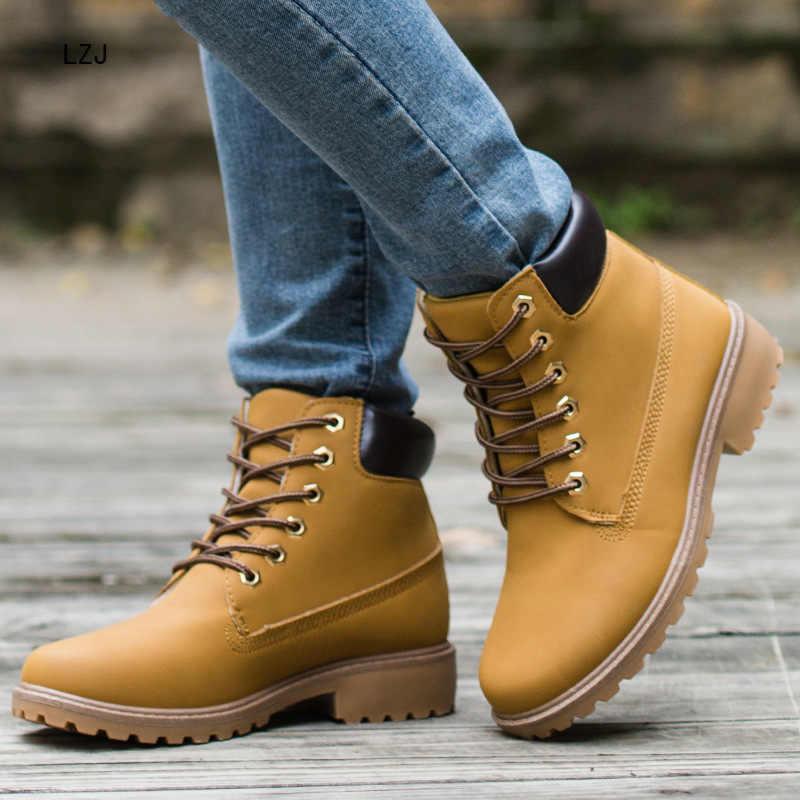 LZJ 2019 PU Deri Kadın Martin Çizmeler Kış Ayakka... bileğe kadar bot Kadın kar ayakkabıları Çalışma Çift Modeller Ayakkabı Artı Boyutu 36- 46