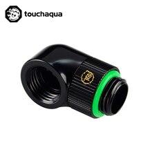 """Bitspower Touchaqua G1/4 """"Dreh 90 Grad ellenbogen Wasser Kühlung Bauen Necessory Armaturen Schwarz, silber TA-90RE-GB/GS"""