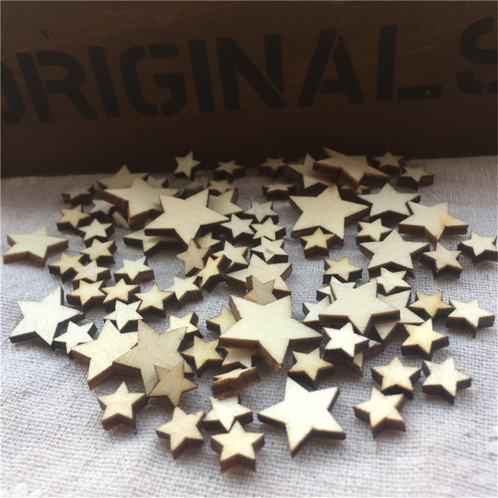 100 Mixed Mini Wooden Stars Christmas Scatter Craft Scrapbook Embellishment