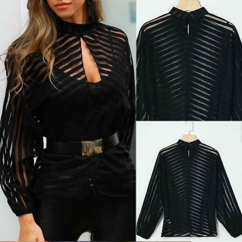 Vrouwen Mesh Netto Blouse Sheer Lange Mouwen Dames Shirt Zwart Front Hollow Sexy Tops Womens Kleding Zomer Vrouwelijke Blouses Hot