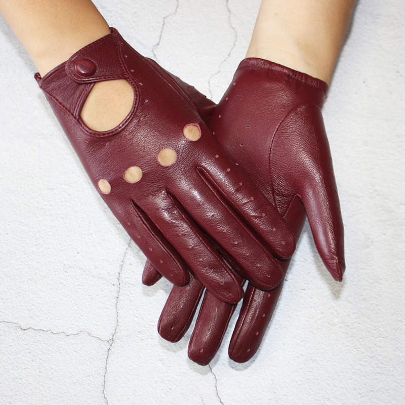 New style sheepskin gloves women leather thin single layer unlined hollow breathable riding motorcycle gloves spring and summer