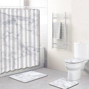 Image 1 - 4Pcs/set Marble Pattern Waterproof Shower Curtain Polyester Pedestal Rug Lid Toilet Cover Bath Mat Set