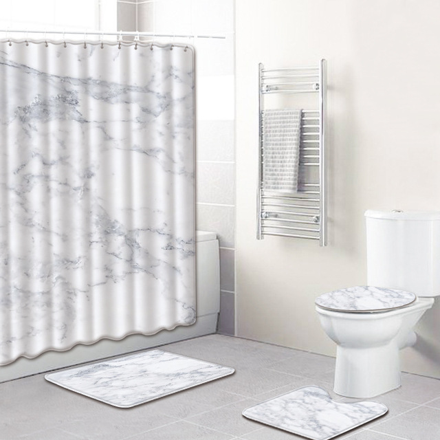4Pcs/set Marble Pattern Waterproof Shower Curtain Polyester Pedestal Rug Lid Toilet Cover Bath Mat Set