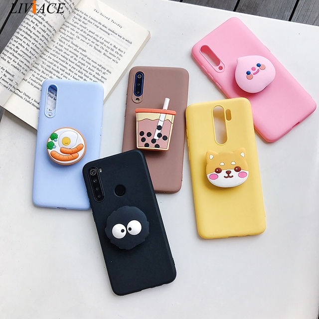 3D cartoon phone holder case for oppo realme 6 pro 6s 6i for realme xt x2 pro x lite 7 5 pro c3 soft silicone cute stand cover Accessories Phone Covers