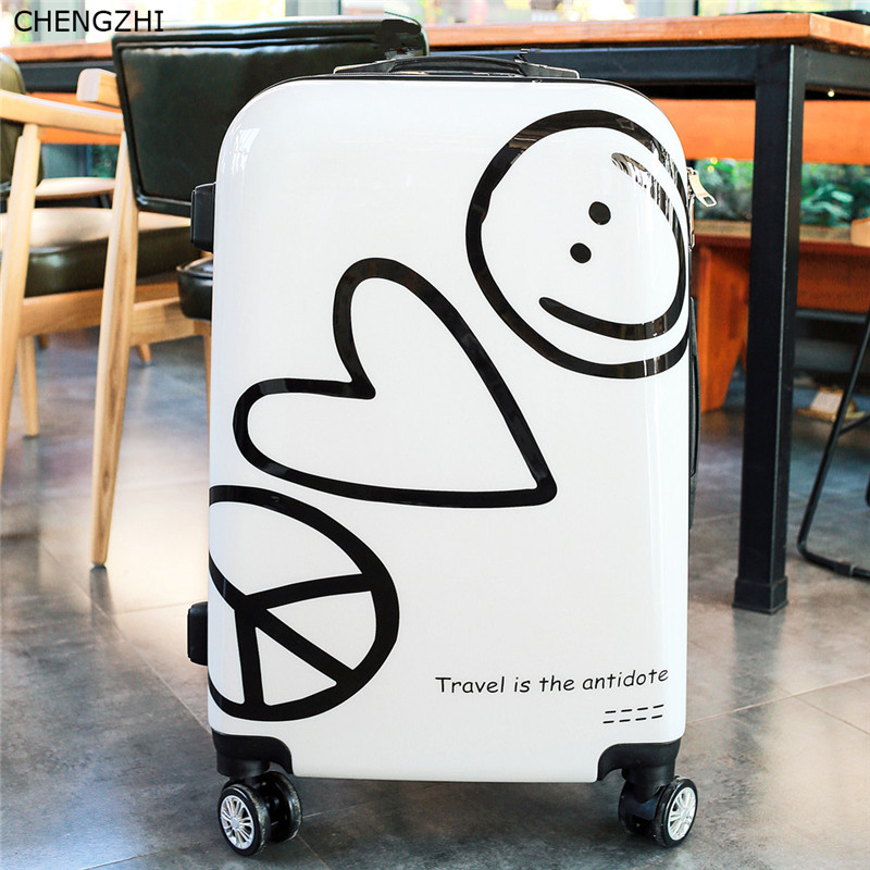 "CHENGZHI 20""24Inch cute rolling luggage spinner cartoon wheeled suitcase  carry on trollry travel bag"