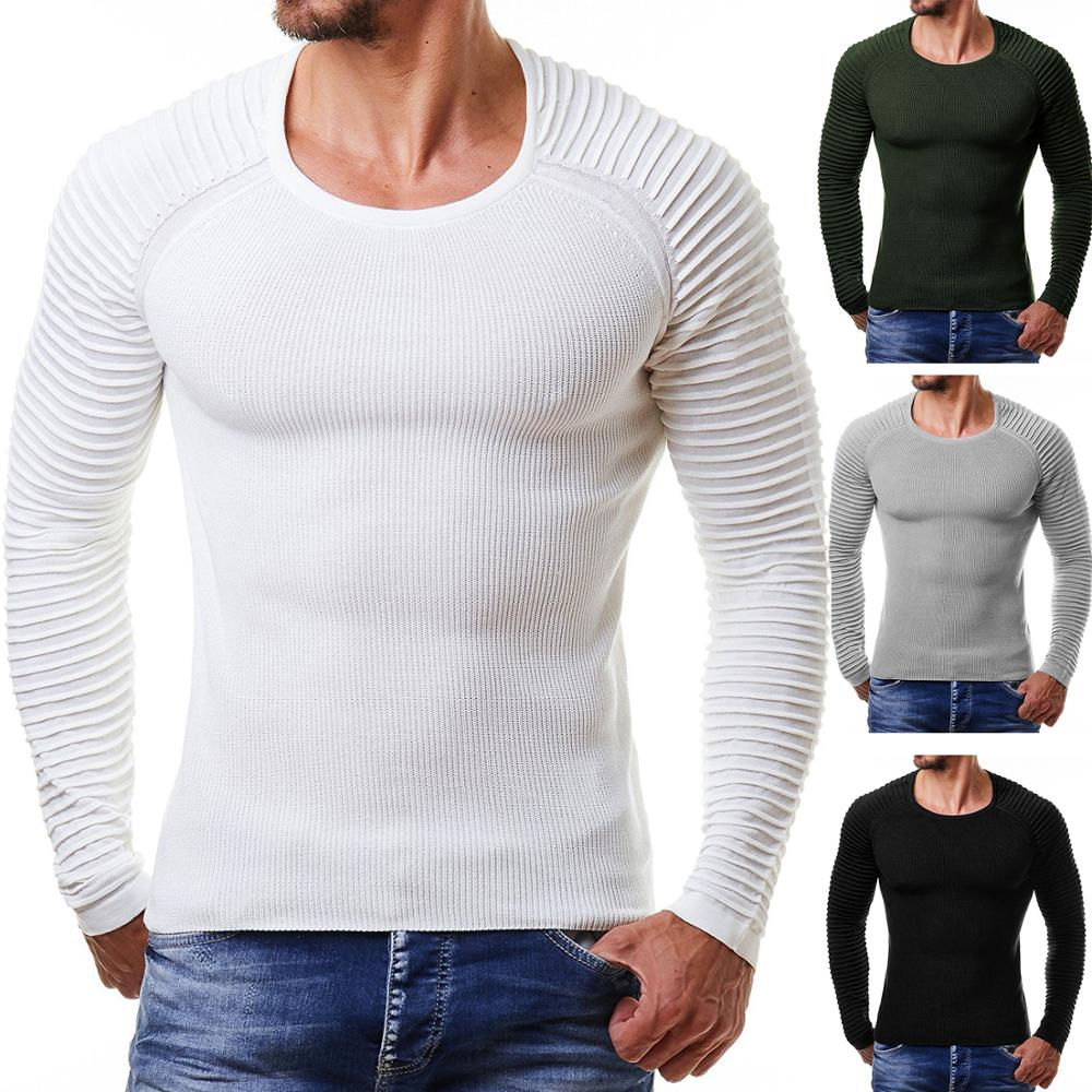Crewneck Pullover Men 2019 Fashion Shoulder Fold Solid Color Casual Elastic Sweater Men Knitted Hip Hop Streetwear Male Clothing