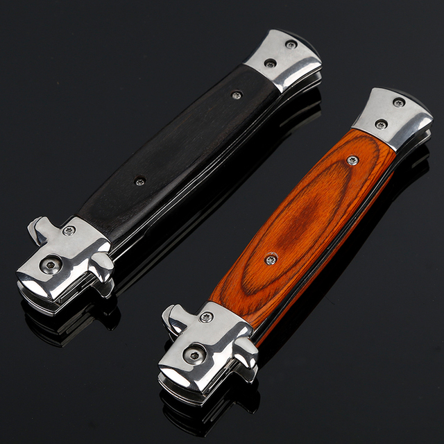 8.86'' Japanese Folding Pocket Knife Sharp Survival Tactical Knife Wooden Handle Outdoor Combat Camping Hunting Knives EDC Tool 4