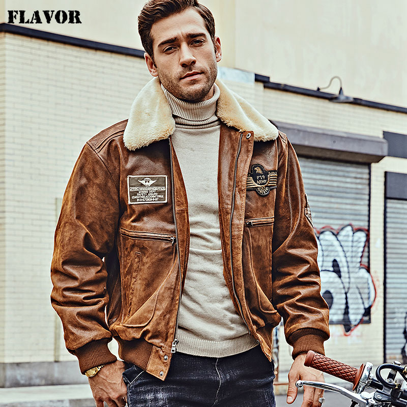 Image 3 - FLAVOR New Men's Real Leather Bomber Jacket with Removable Fur Collar Genuine Leather Pigskin Jackets Winter Warm Coat Men-in Genuine Leather Coats from Men's Clothing