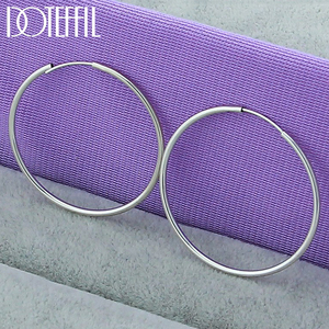 DOTEFFIL 925 Sterling Silver Round Circle 30mm Hoop Earrings For Woman Wedding Engagement Party Fashion Charm Jewelry