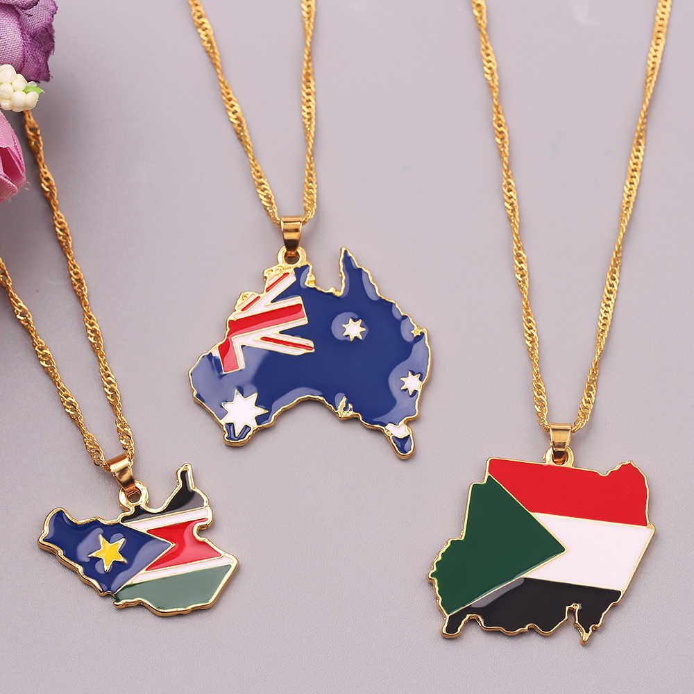 Wzór flagi narodowej mapa wisiorek naszyjnik Sudan południowy australijski Metal naszyjniki na prezenty dla kobiet mężczyzn