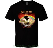 цена New 2019 Cotton Short-sleeve T-shirt Rainbow Rising Rock N Roll Heavy Metal Music Band T Shirt онлайн в 2017 году