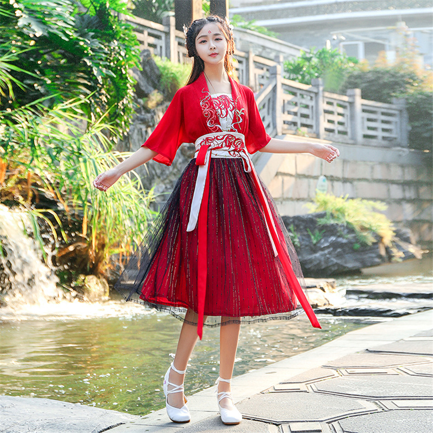 Woman Chinese Traditional Hanfu Dress Ancient Elegant Embroidery Dance Wear Summer Red Fairy Short Sleeve Top Mesh Skirt