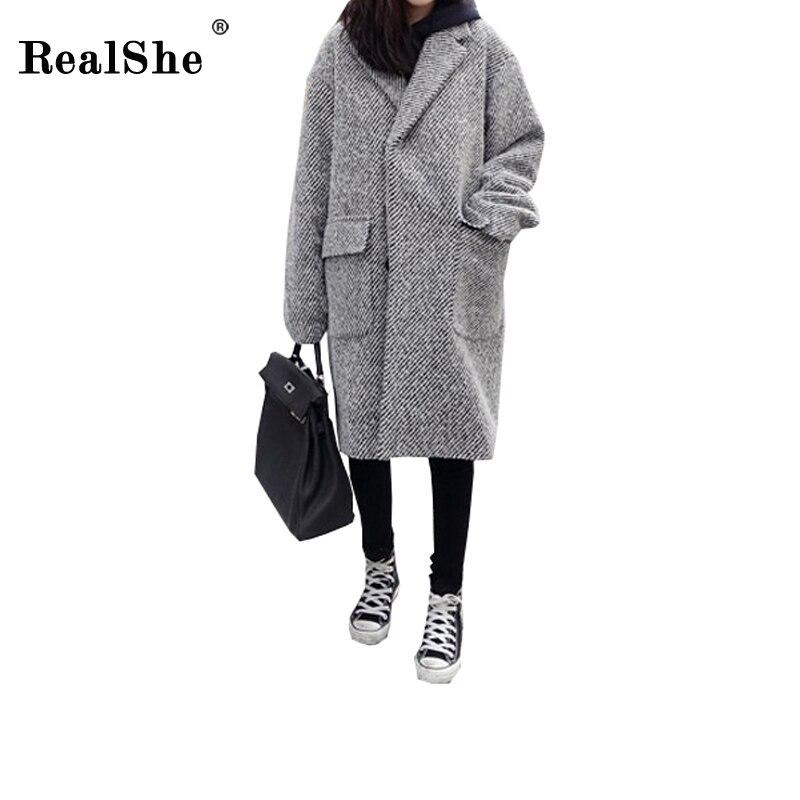 RealShe 2018 Winter Coat Women Lapel Pockets Wool Blend Coat Oversize Long Trench Coat Outwear Casual