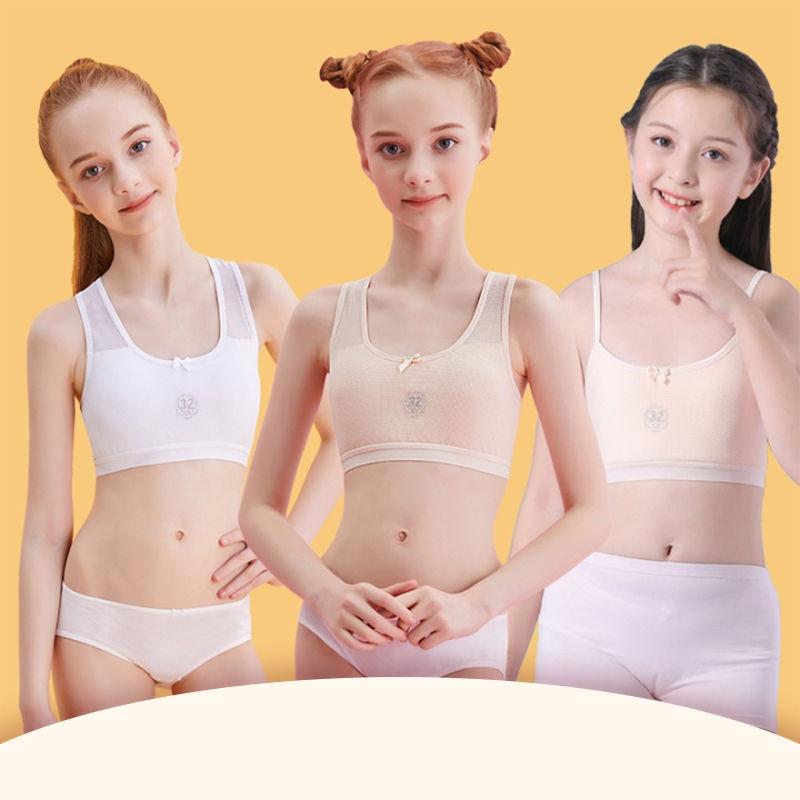 Cotton Soft Teenage Girls Underwear Bras Sports Kids Puberty Girl Bra Young Students Sport Training Bra For Children Underwears