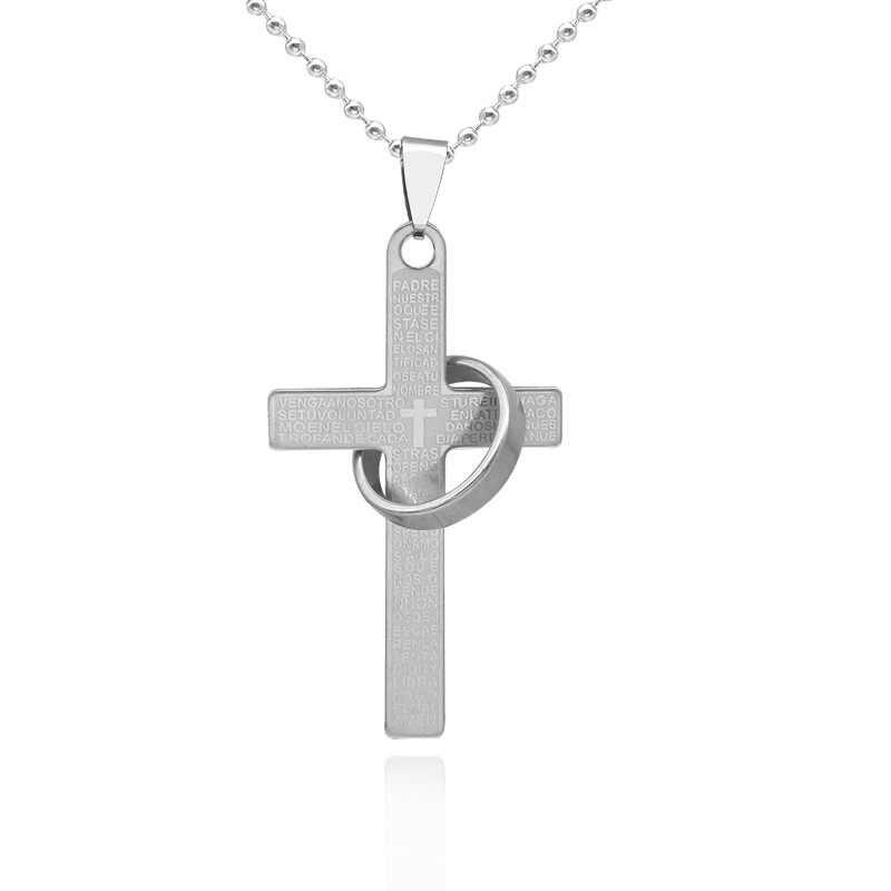 Punk 1PC złoty srebrzysty stal tytanowa křížky list z wisiorek obrączka naszyjnik dla mężczyzn mężczyzna modna biżuteria na prezent