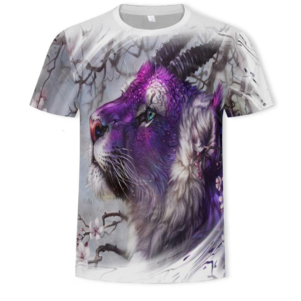 Violet Tiger Animal 3d Digital Printing Short Sleeve streetwear tshirt Creative Design t-shirt summer top male shirt mens tee
