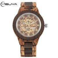 YISUYA 高級木材機械式セルフ巻メンズ腕時計レトロフル木製バンドローマ数字ディスプレイ自動時計 -