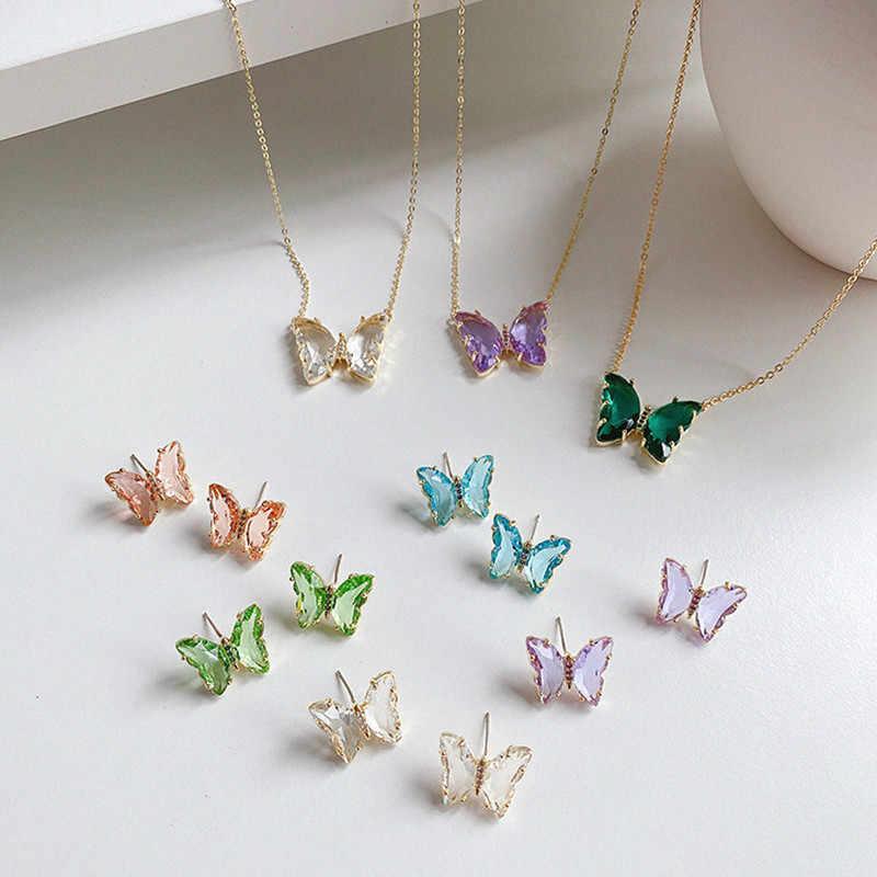 Butterfly NecklaceButterfly JewelryGold Butterfly PendantGlass Necklace Pendant