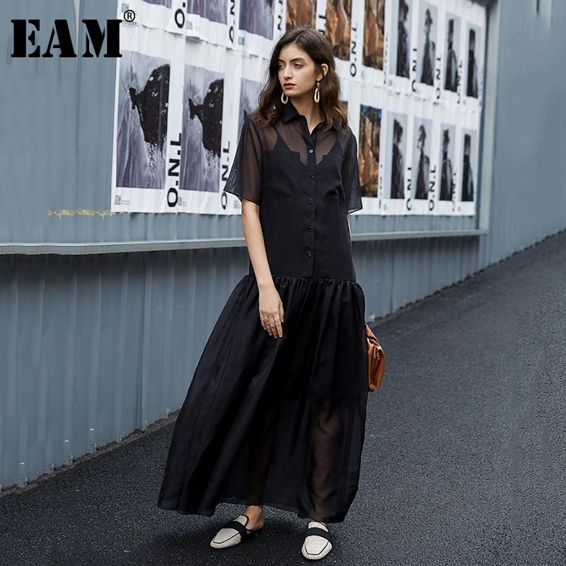 [EAM] Women Black Perspective Mesh Elegant Long Dress New Lapel Half Sleeve Loose Fit Fashion Tide Spring Summer 2020 1U709