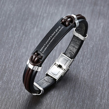Personalized Men's Leather ID Bracelet Stainless Steel Free Engraving Inspiration Initials Name Date Boyfriend Gifts(China)