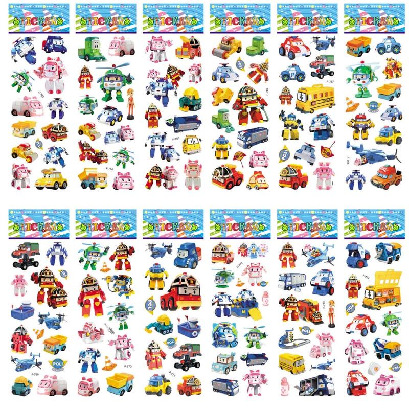 12 Pcs/set Robocar Poli 3D Sticker Artoon Super Wings Transformation Robot Car Poli Stickers Doodle Toys For Kids Gifs